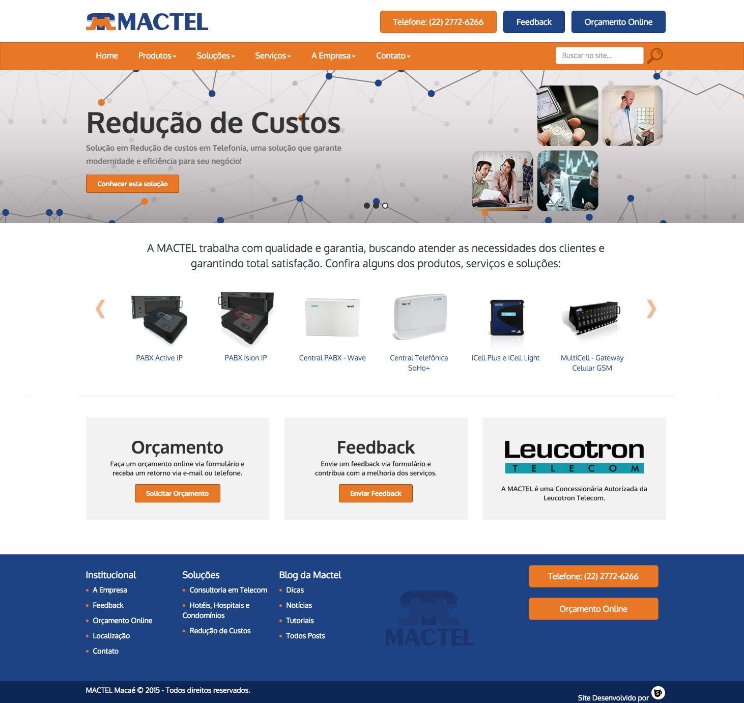 Site de Empresa de Telefonia - MACTEL Macaé - Clientes Surta