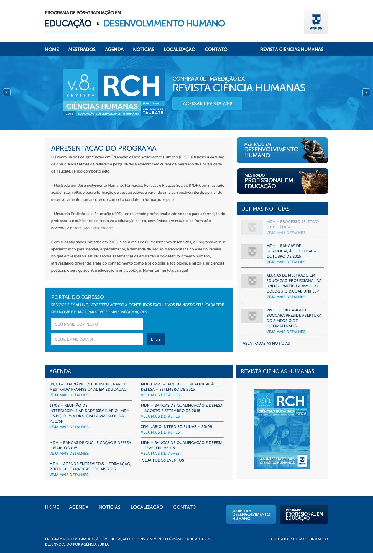Site para Pós-Graduação em Desenvolvimento Humano da UNITAU