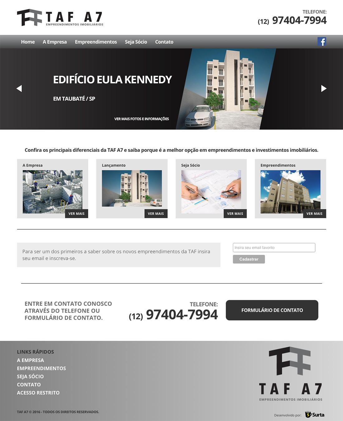 2ee097814 Site Para Construtora TAF A7 Empreendimentos - Clientes Surta