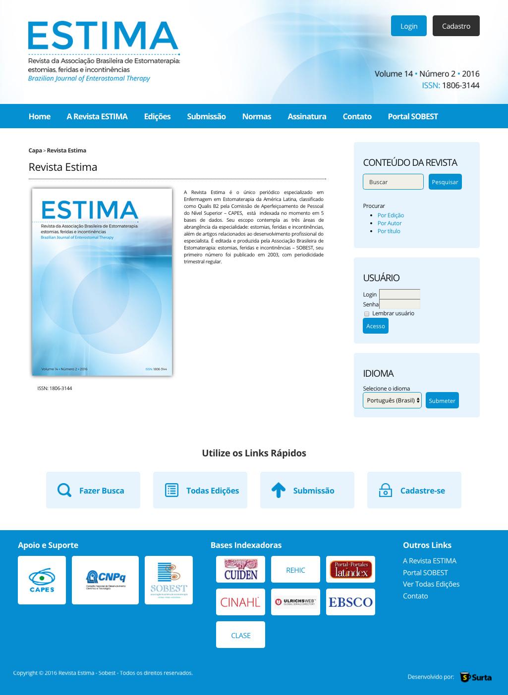 Revista Tecnológica para ESTIMA da Associação Brasileira de Estomaterapia