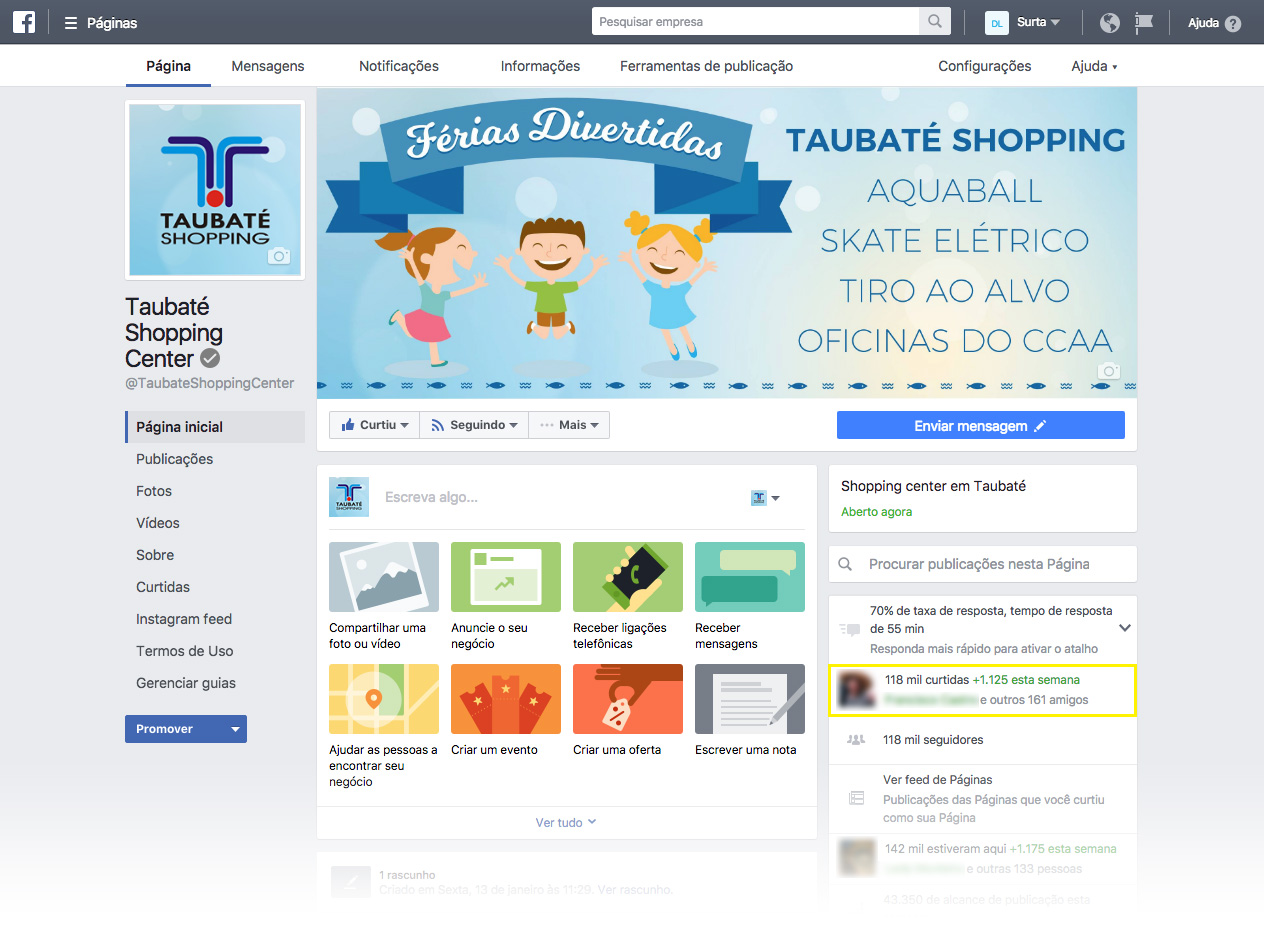Campanha no Facebook do Taubaté Shopping Center