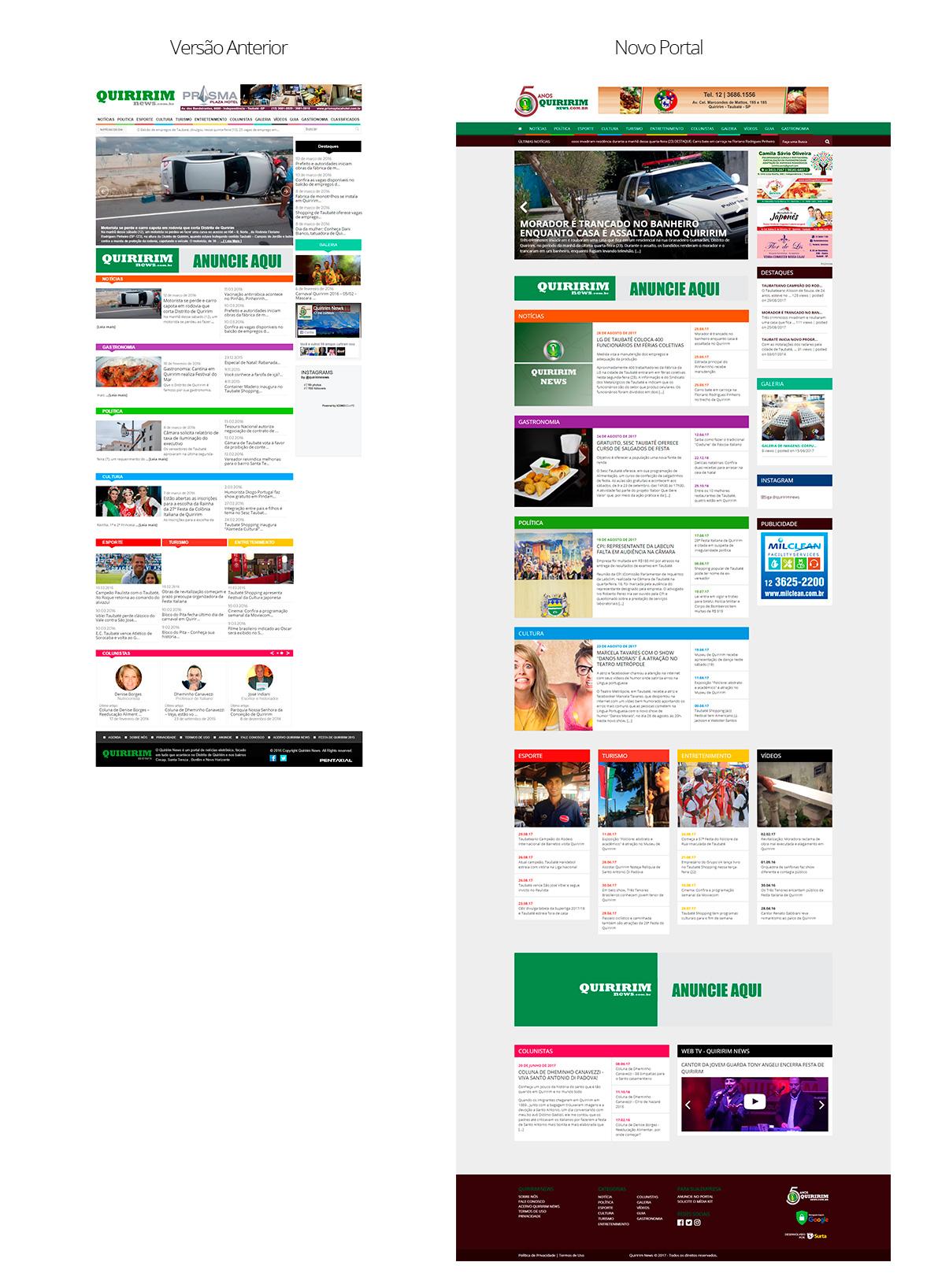 Estética eu sabilidade do novo portal Quiririm News
